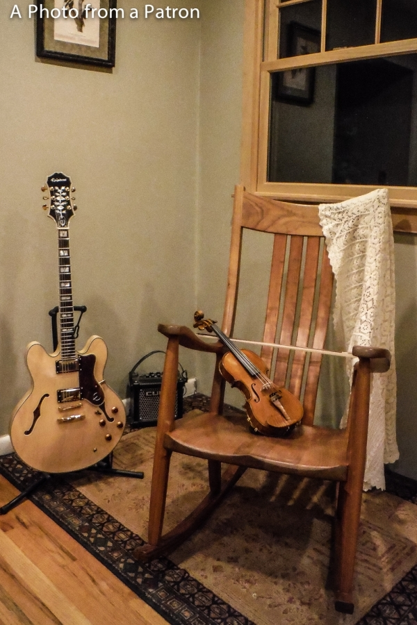 rocking chair in music room