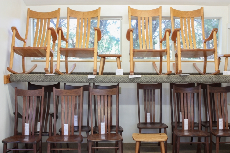 rocking chairs and dining chairs in drying rack