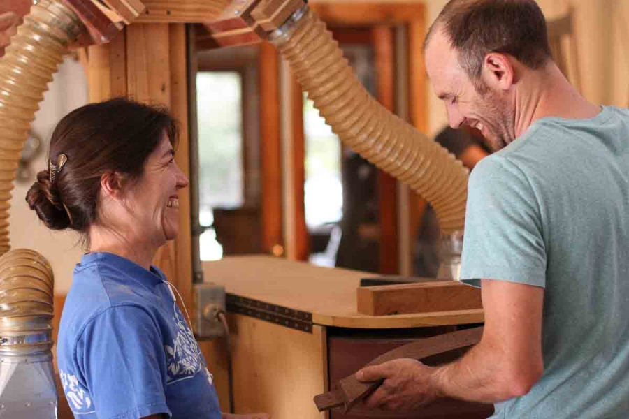 Audra and Austin at the chair back sander