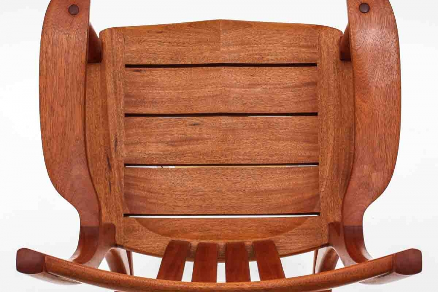 mahogany rocking chair seat, overhead view