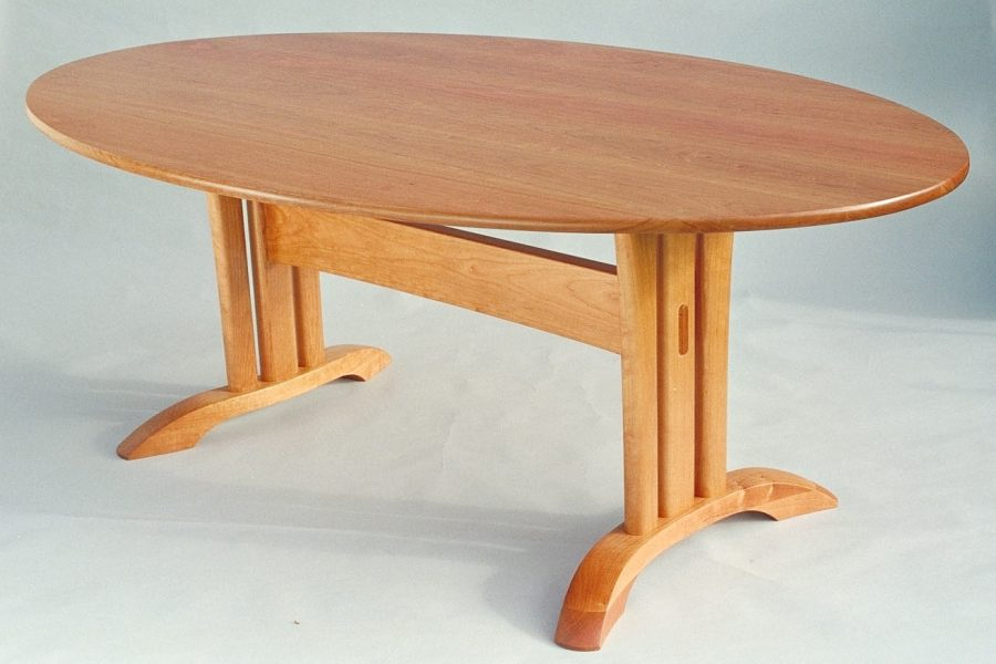 trestle table--the top is a true ellipse