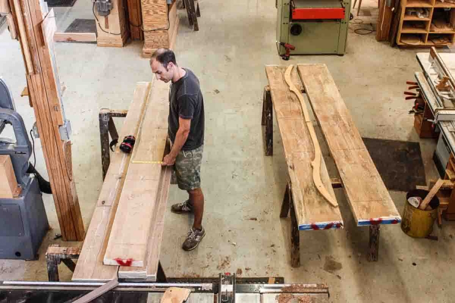 Austin laying out pecan rockers