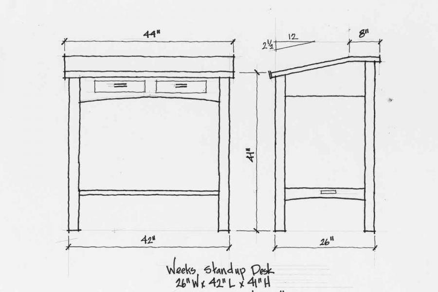 standup desk design drawings