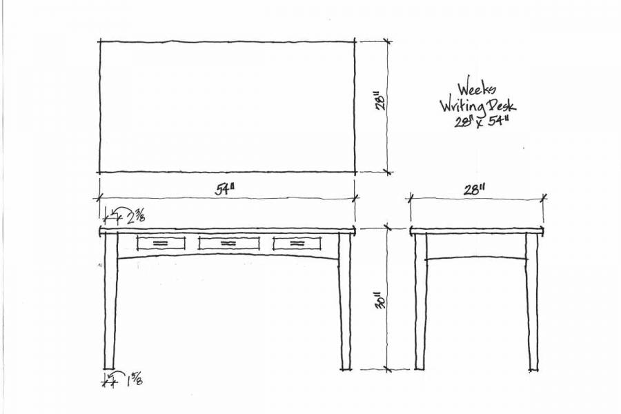 writing desk design drawings