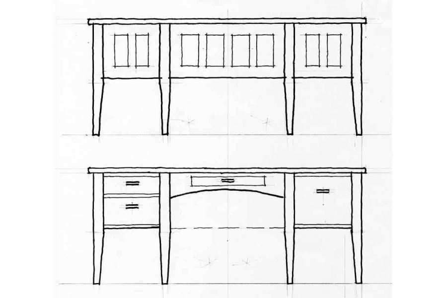office desk drawing