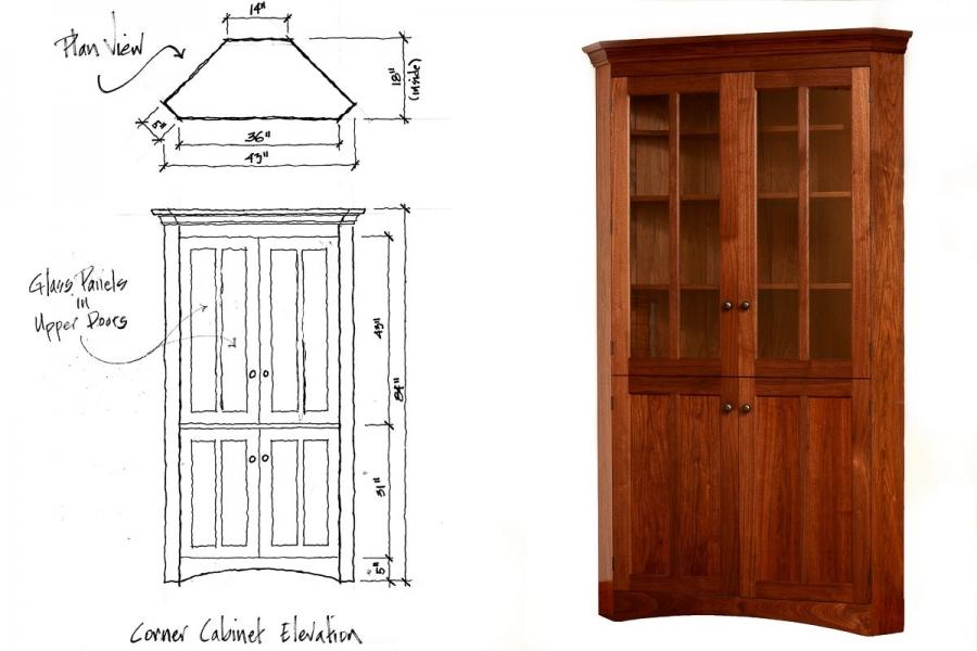 corner cabinet and its design sketch