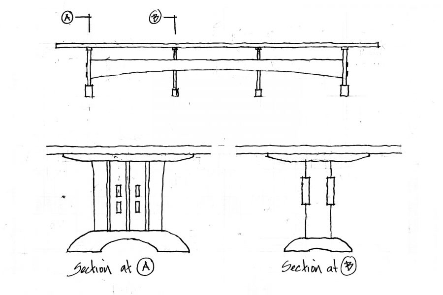drawing for extra large trestle table