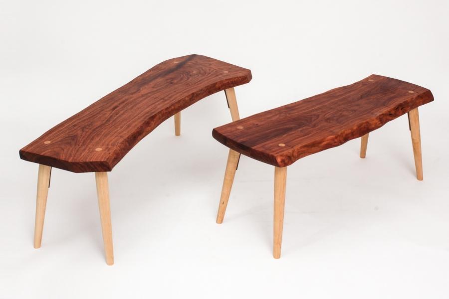 mesquite, live edge benches