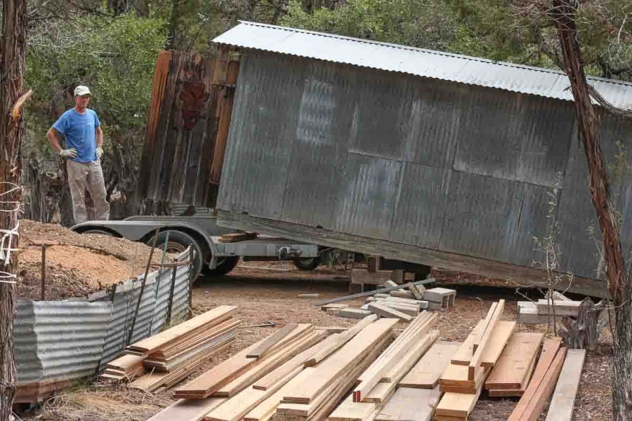 Jeff and trailer, moving lumber shed