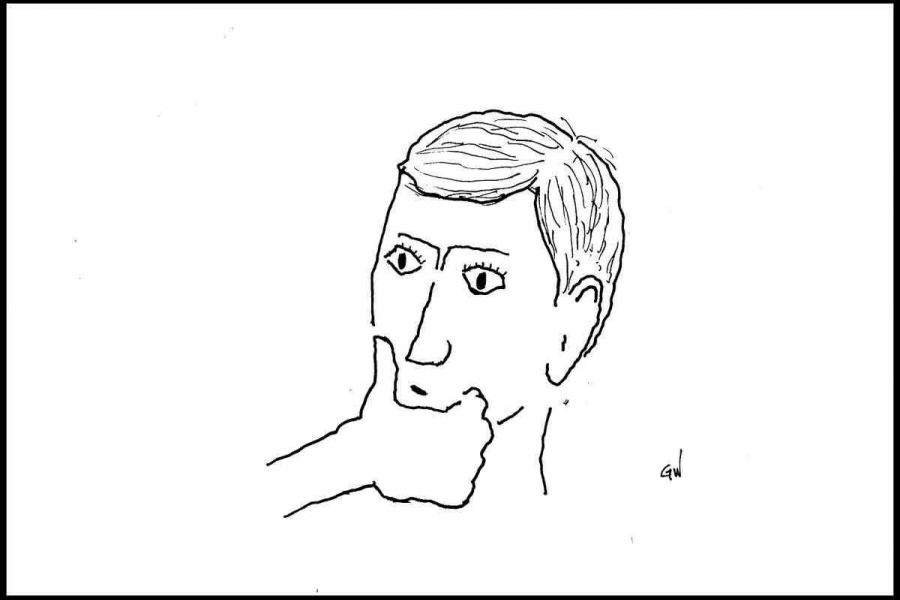 cartoon of pensive face