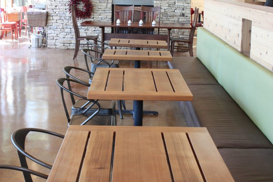 tables in Leaning Pear Restaurant