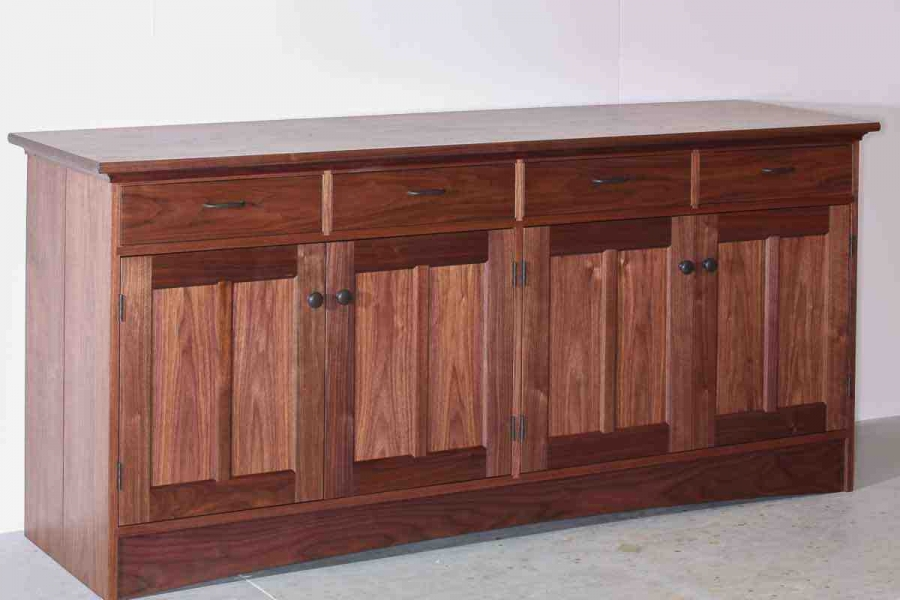 walnut buffet, 4 drawers over 4 doors