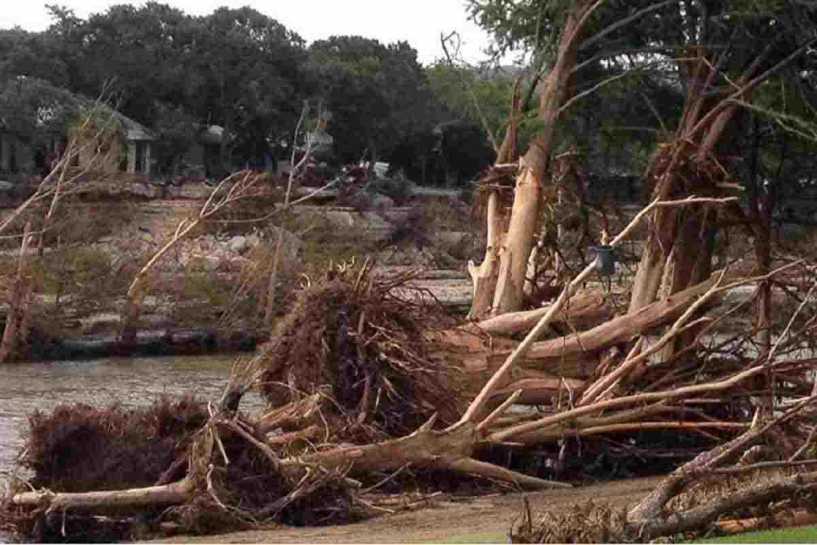 the Blanco River bank after the flood