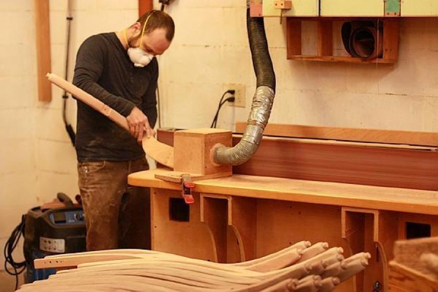 Aaron sculpting at edge sander