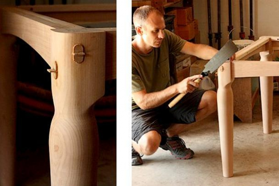 Austin sawing tenons flush with table leg