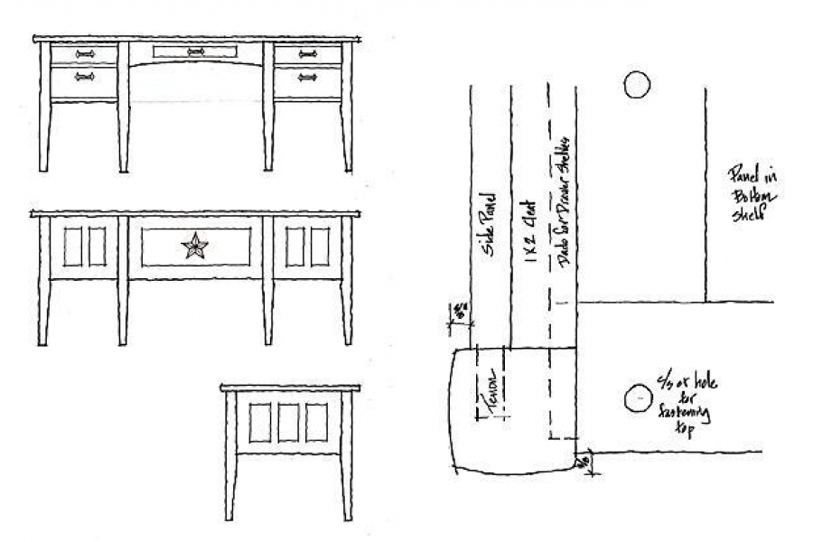 office desk design drawings