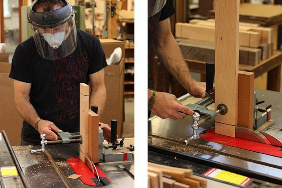 cutting tenons with jig at the table saw