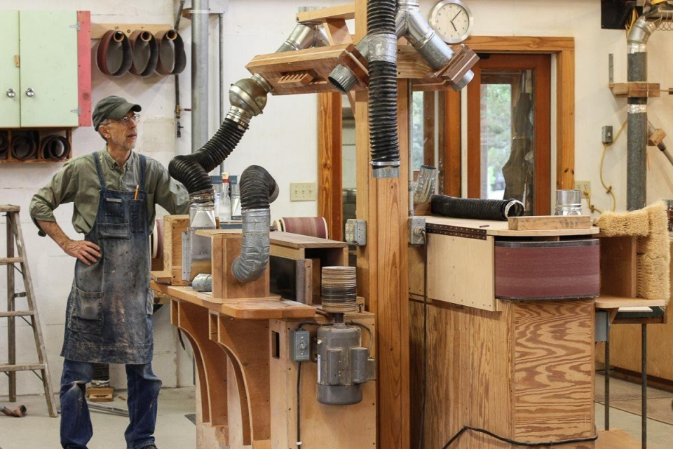 Gary rebuilding the edge sander
