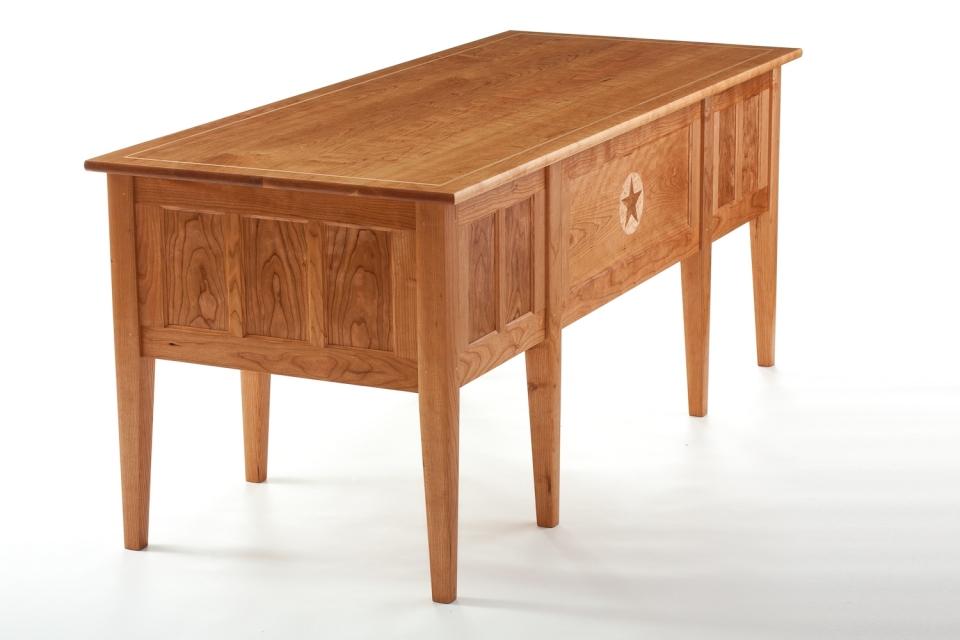 "cherry office desk, 32"" x 72,"" custom inlay"