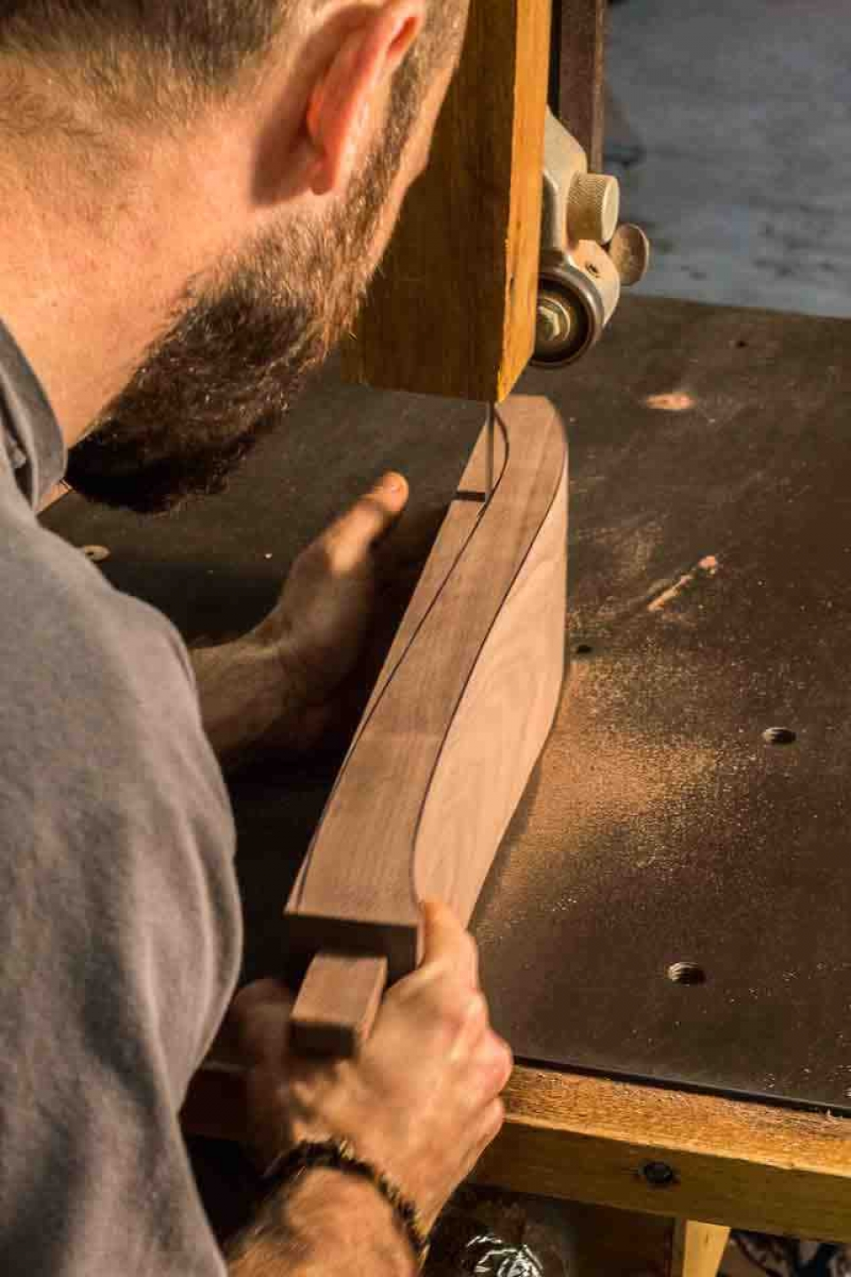 bandsawing rocking chair arm