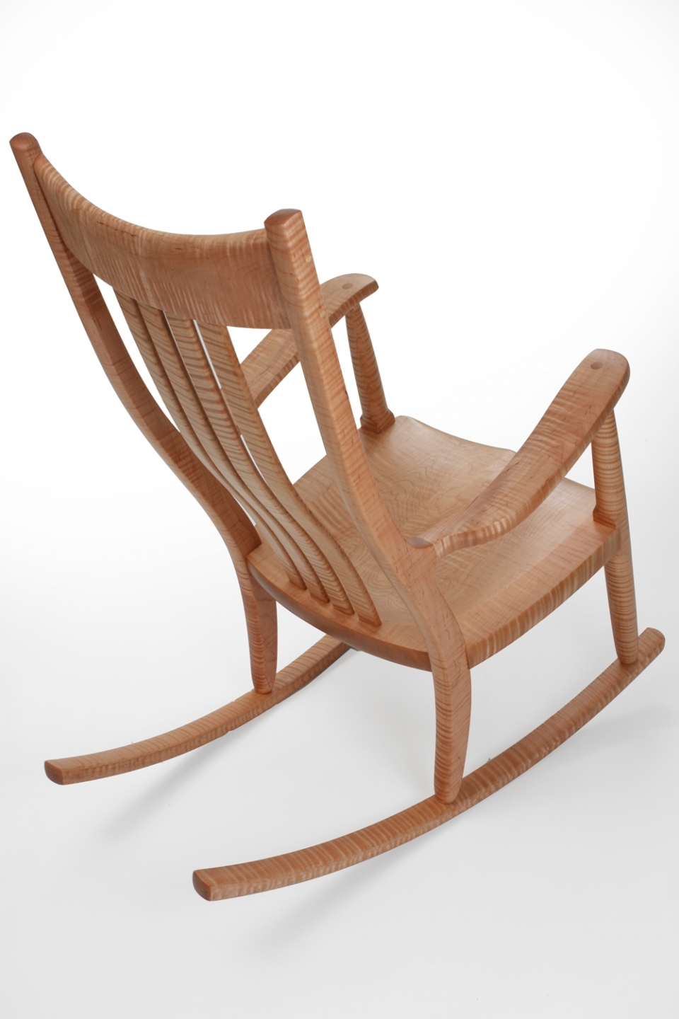 curly maple rocking chair, quarter overhead view