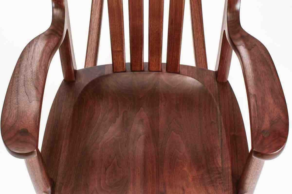 walnut rocking chair seat, overhead closeup