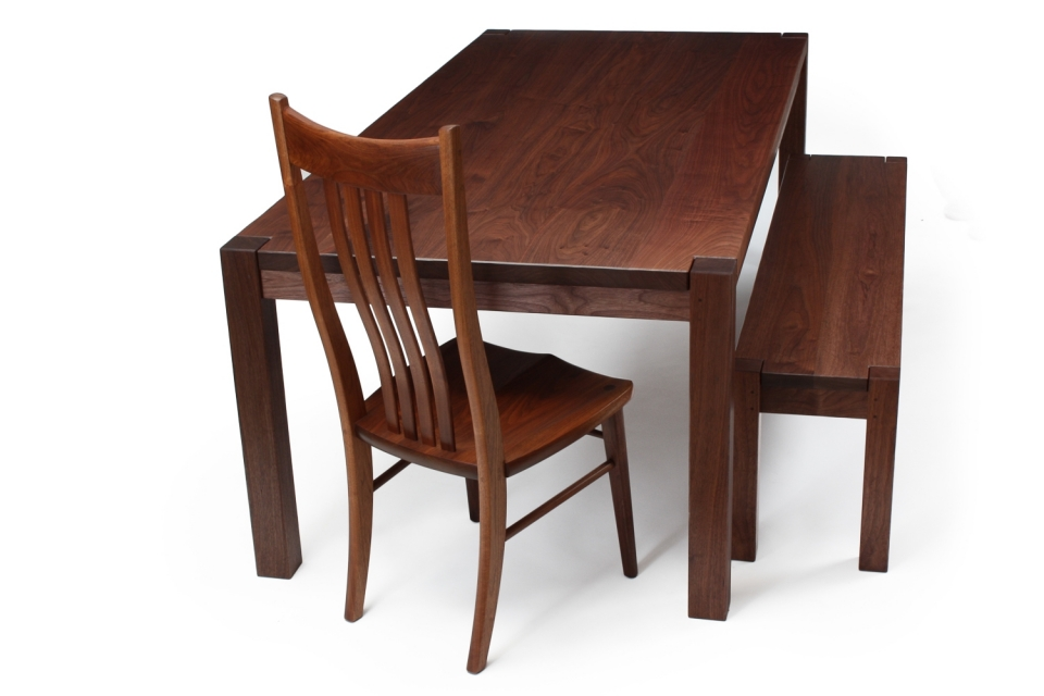 dining table, chair, and bench, in studio