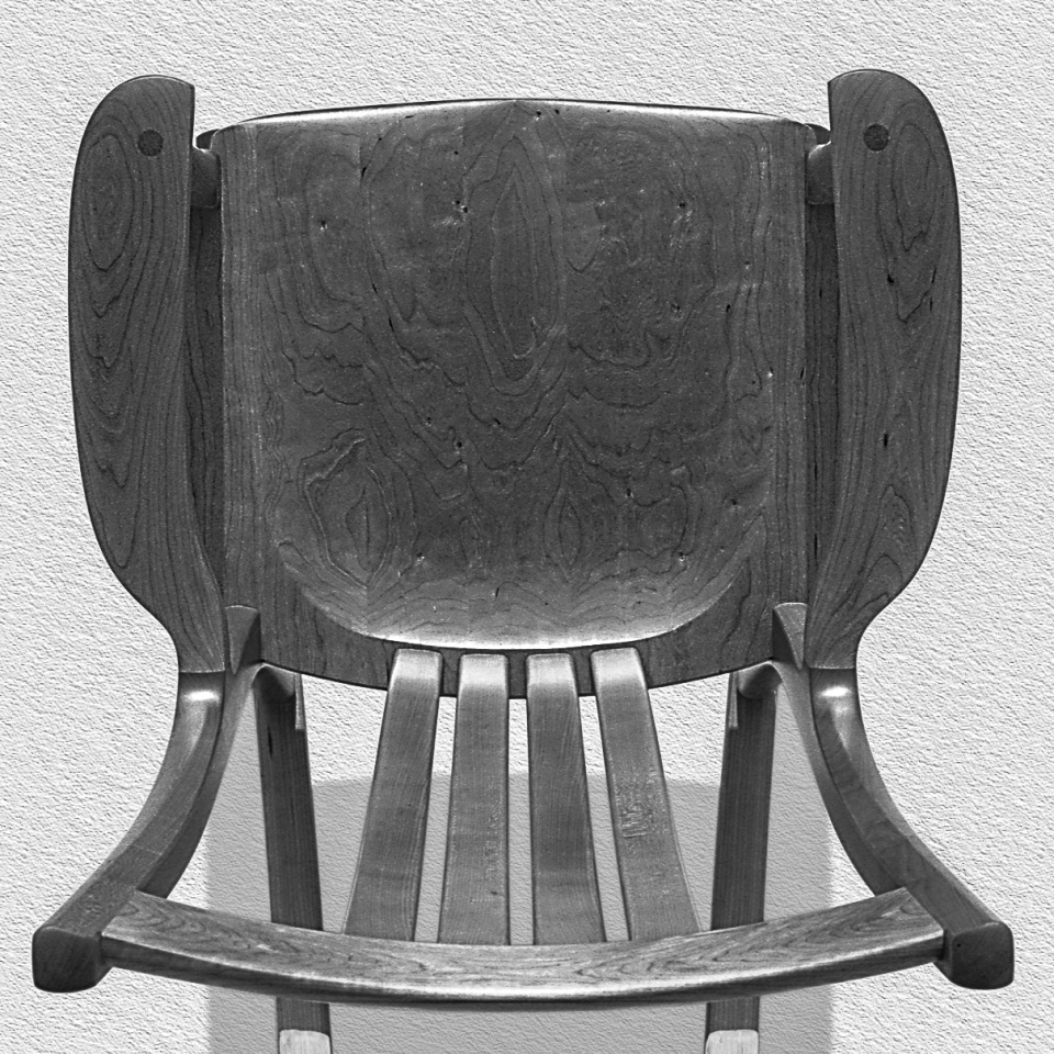 overhead view of rocking chair, B&W