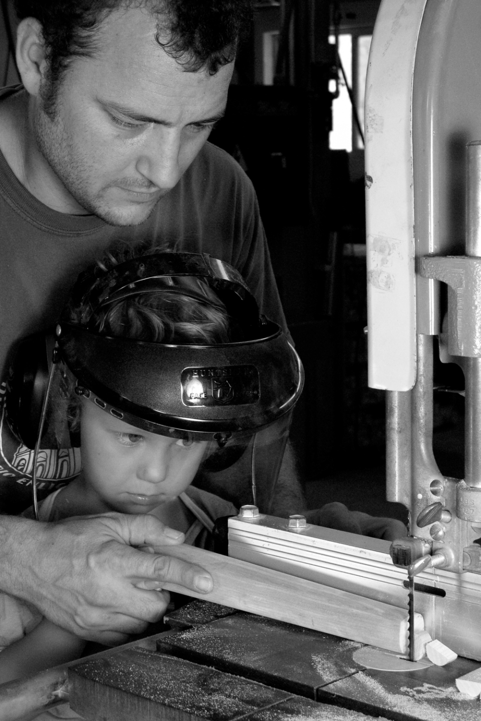 Will and Asa (age 6) at the bandsaw