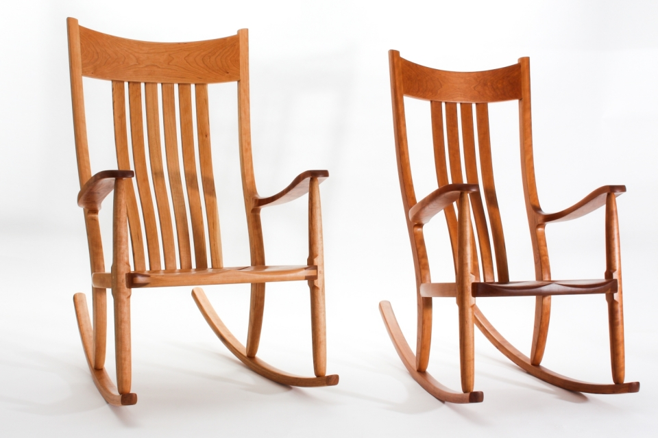 two rocking chairs: oversize and regular