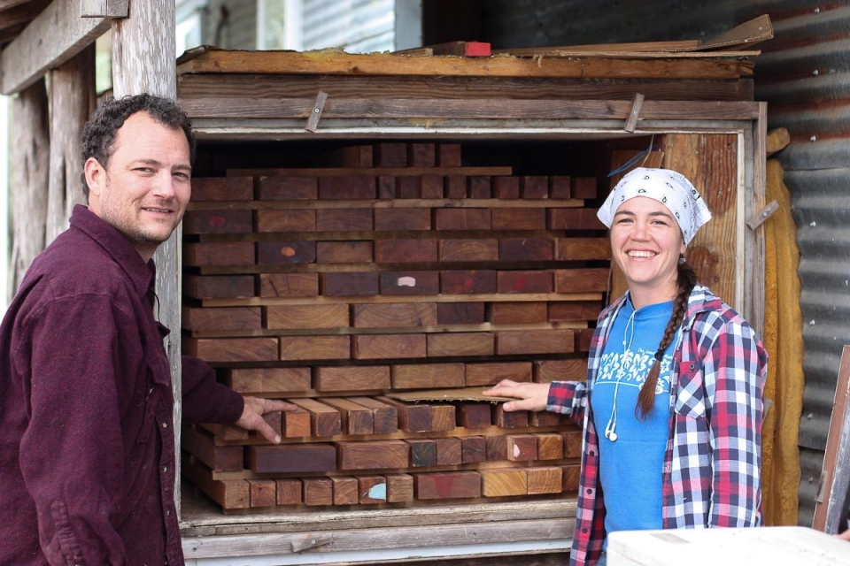 Will and Audra loading the kiln