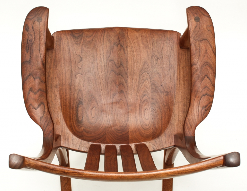 mesquite rocking chair seat overhead closeup