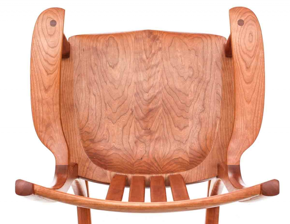 cherry rocking chair seat overhead view