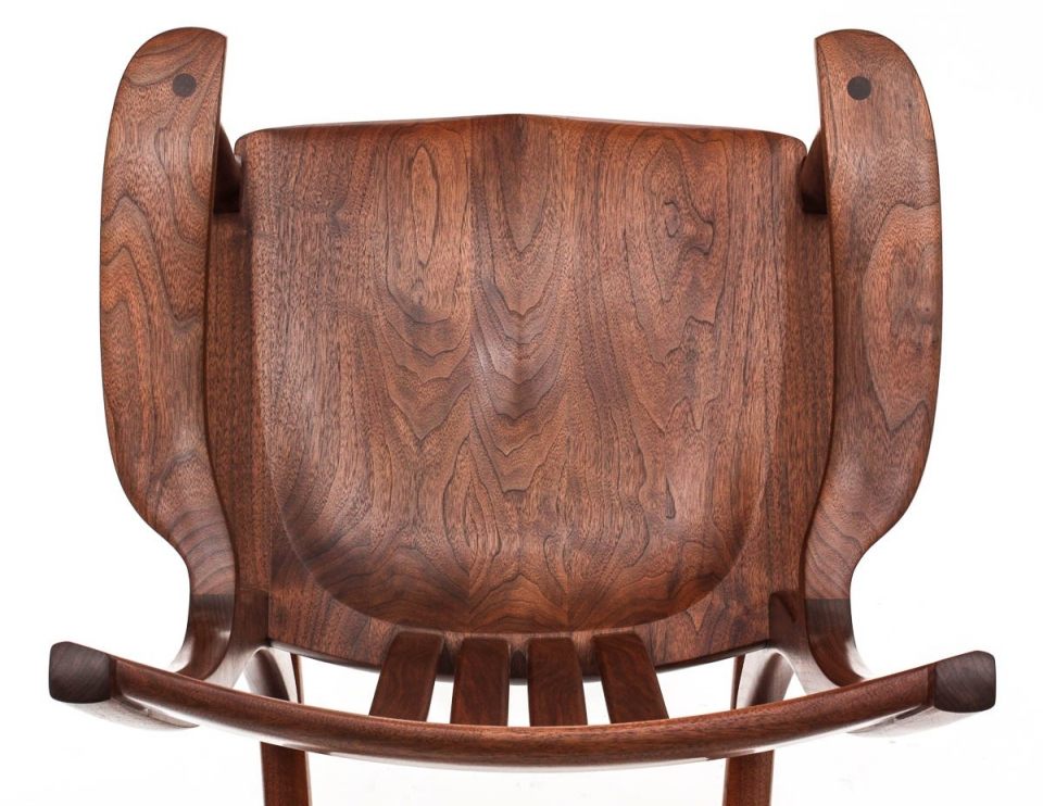 walnut rocking chair seat, overhead view