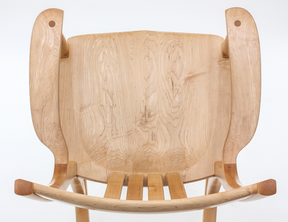 maple rocking chair seat, overhead closeup