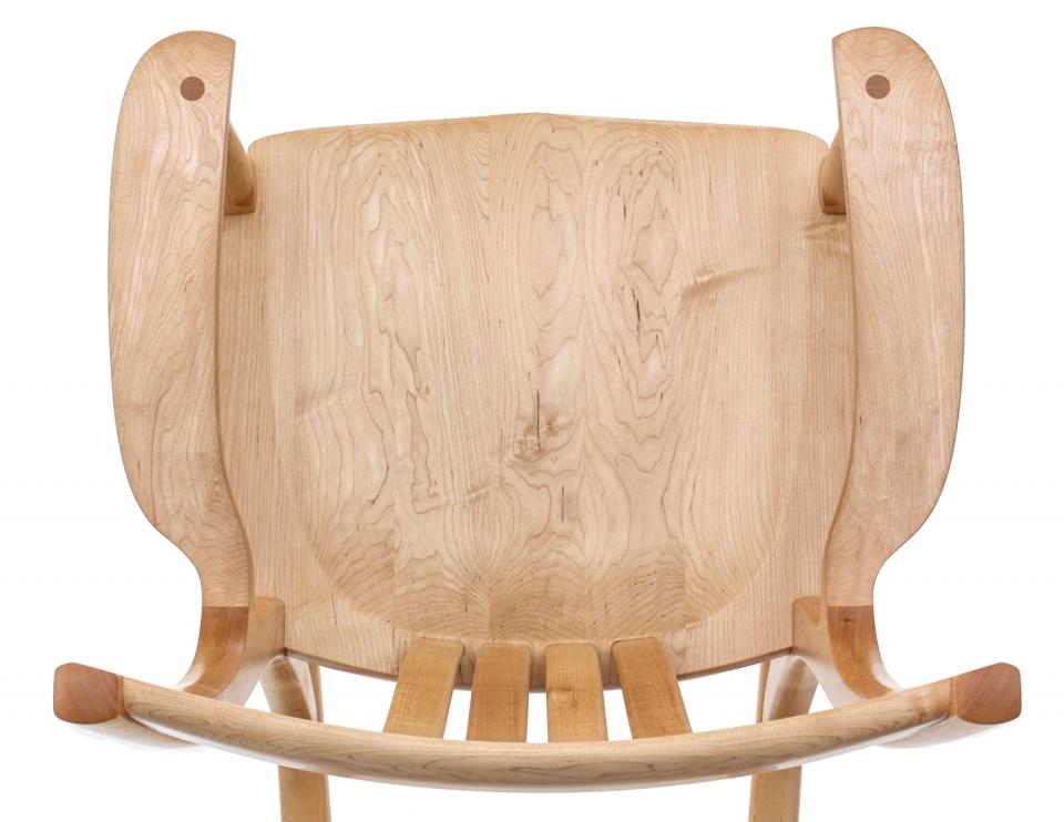 maple rocking chair seat, overhead closeup