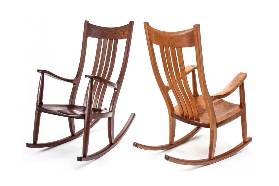 two Weeks rocking chairs, cherry and walnut in studio