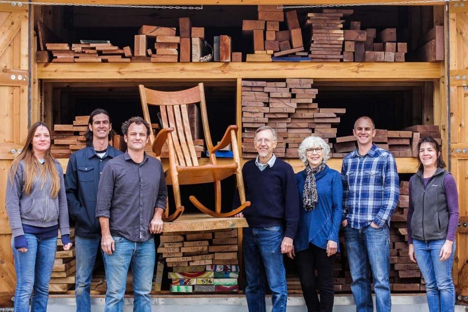 company staff, rocking chair, lumber