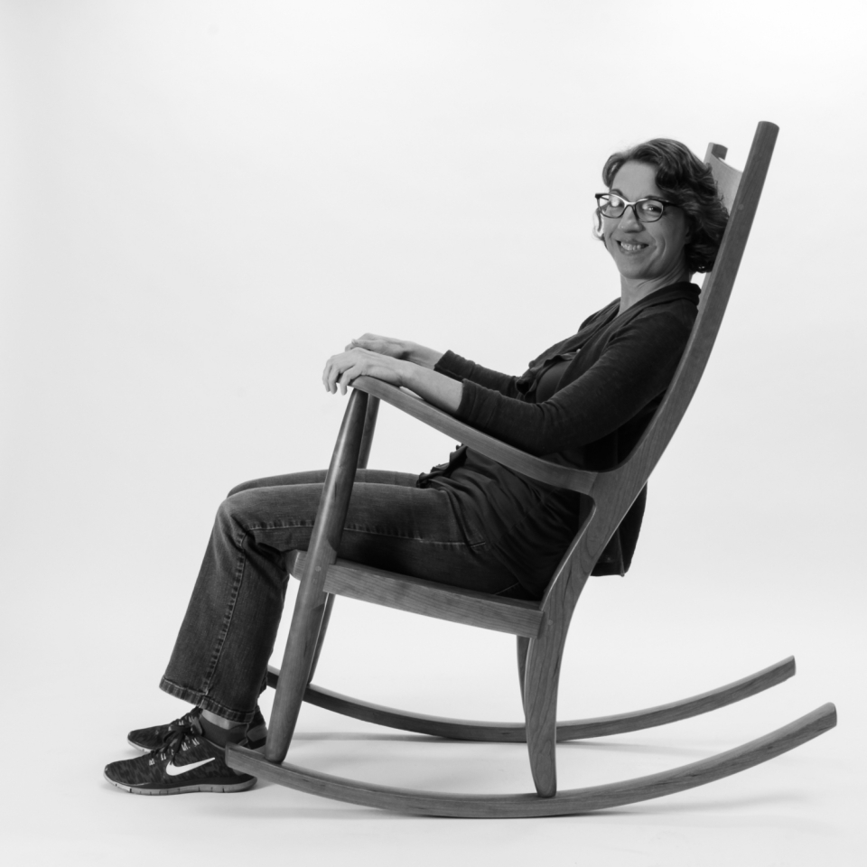 rocking chair and person, B&W 1