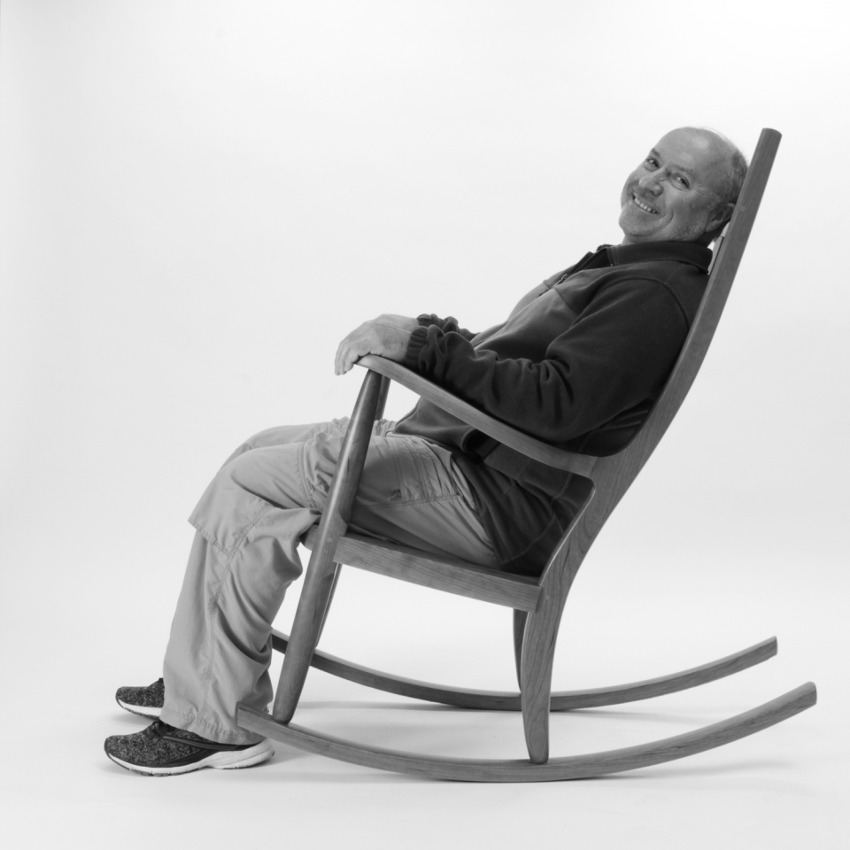 rocking chair and person, B&W 3