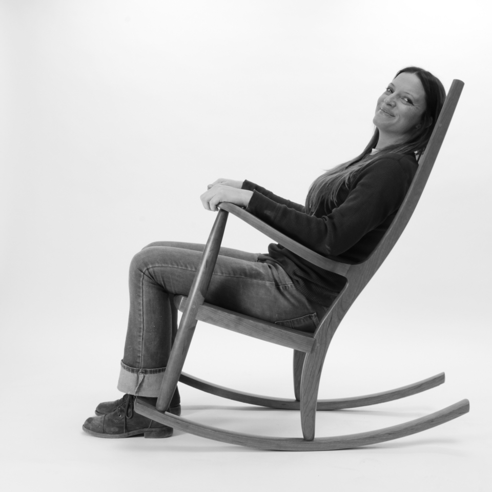 rocking chair and person, B&W 7