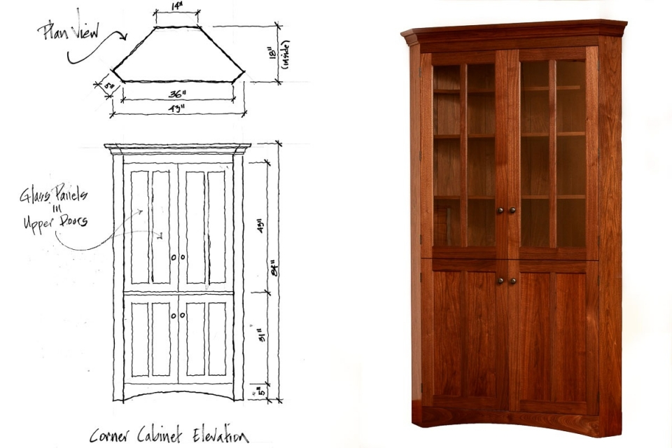 corner cabinet and drawing