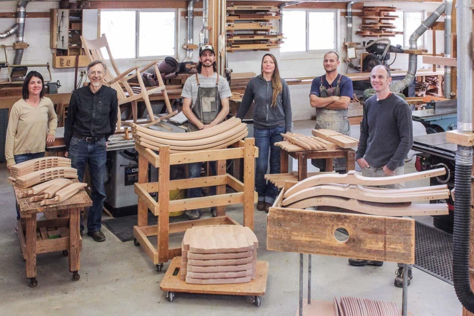 makers and rocking chair parts in woodshop