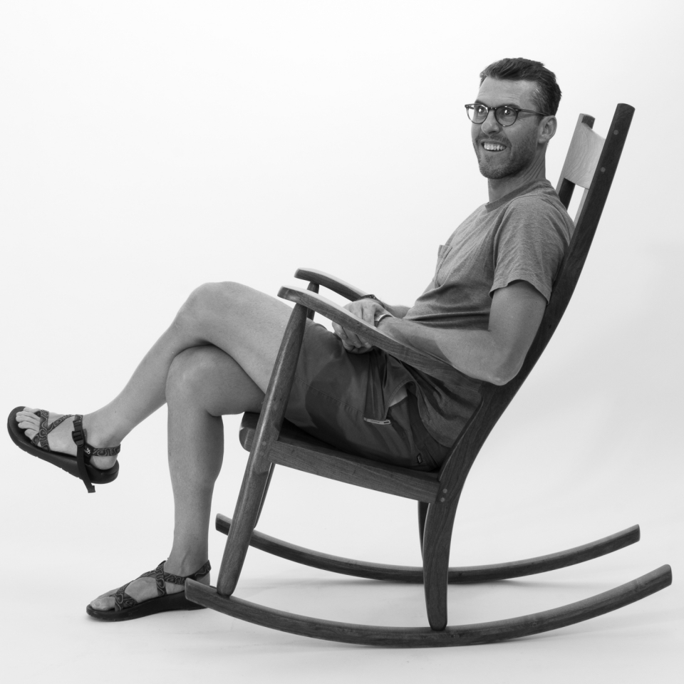 rocking chair and person, B&W 9