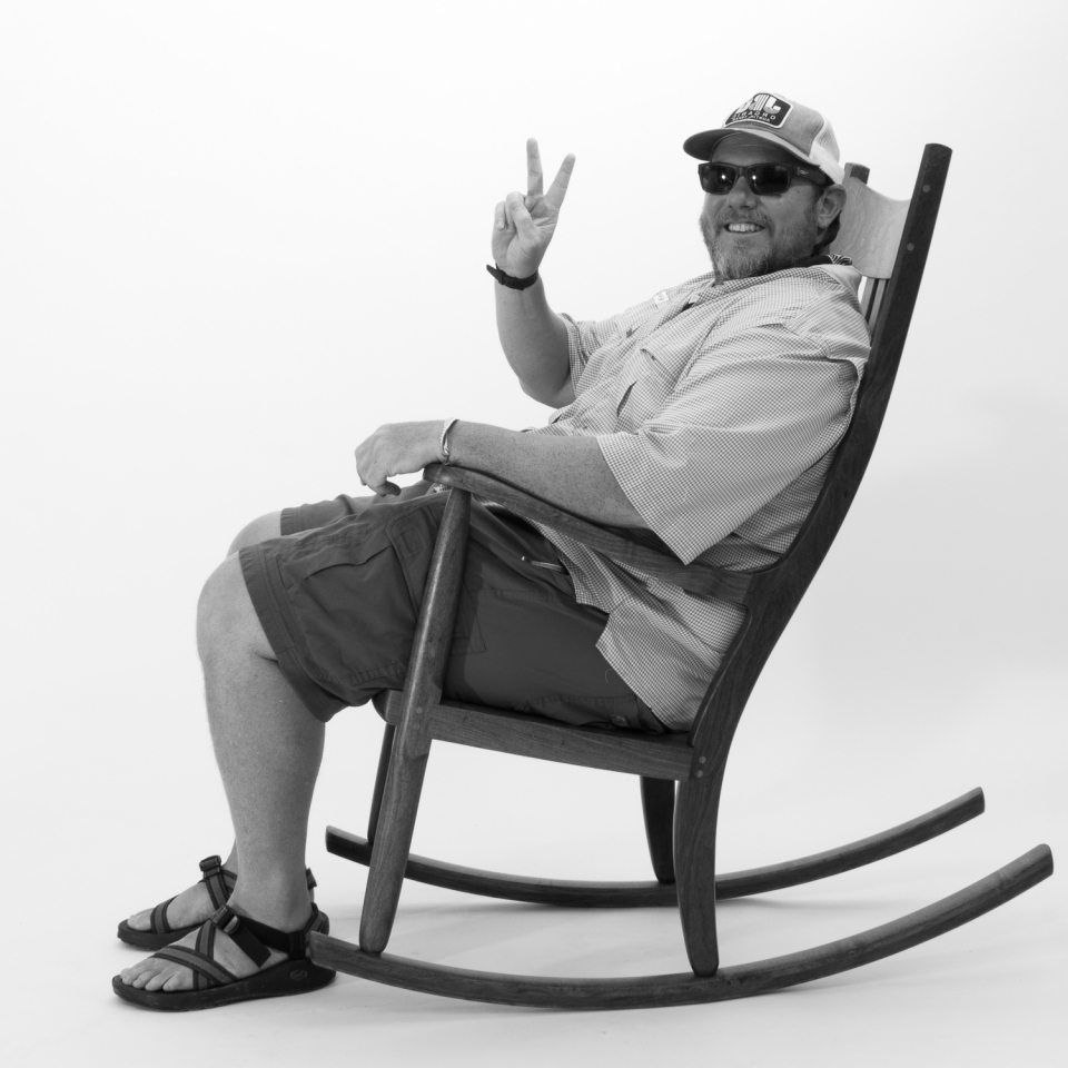 rocking chair and person, B&W 10
