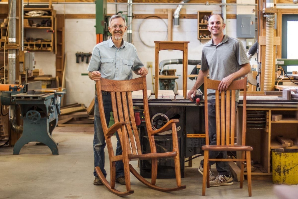 Gary, Austin, rocking chair and dining chair in the shop