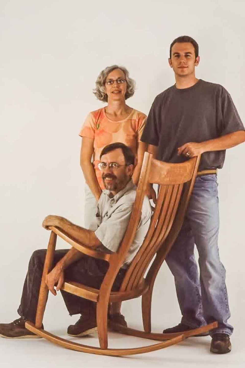 Austin, Gary, and Leslie and rocking chair
