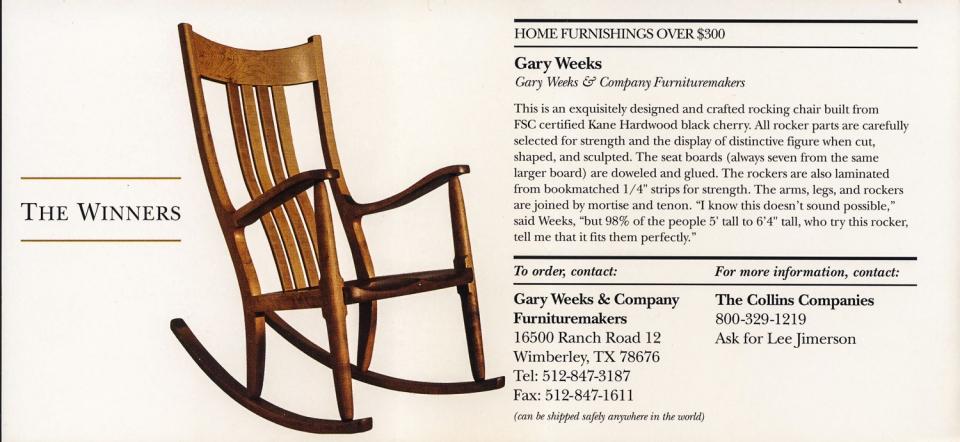 Weeks Rocking Chair, winner page