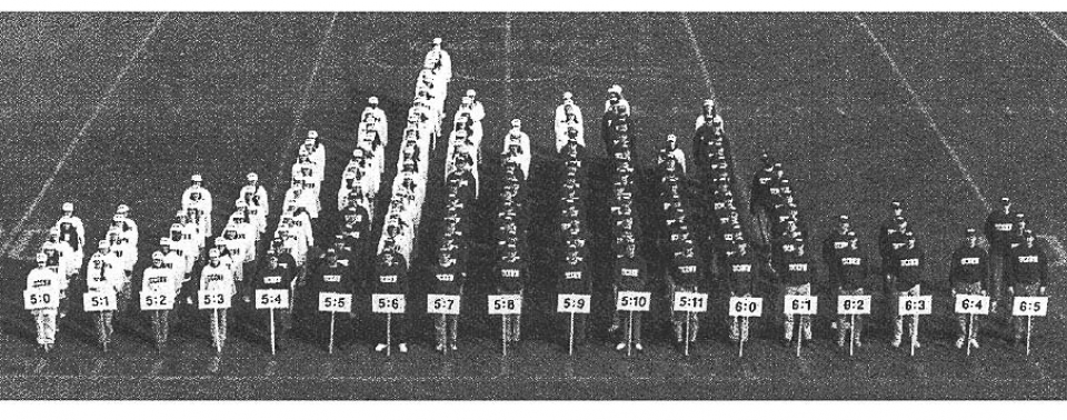 students organized by height, overhead view