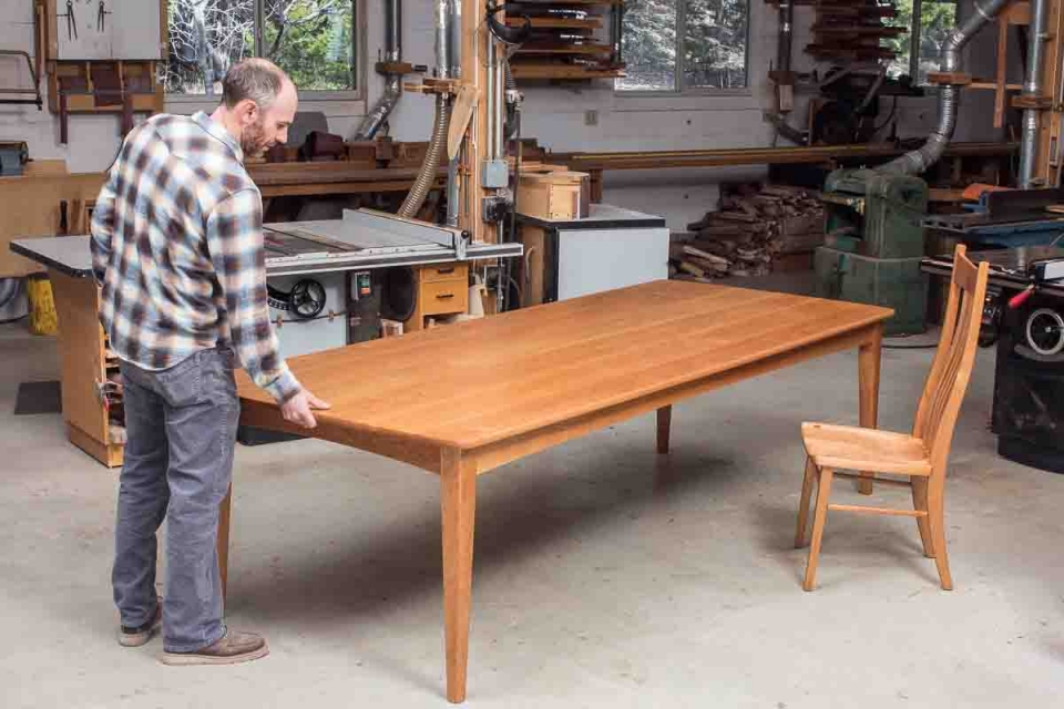 fixed top long Phillips dining table